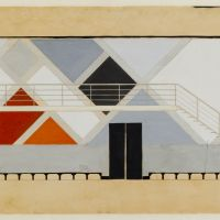 Theo van Doesburg, Design of the wall and gallery of the Great Hall in the Aubette, 1927, Het Nieuwe Instituut Collection, gift Van Moorsel.