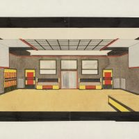 "Jan Wils, Interior of the ""Gaillard-Jorissen"" Dance Institute, The Hague, 1921, Het Nieuwe Instituut Collection."