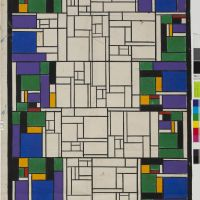 "Theo van Doesburg, stained glass ""Little Pastoral"" in the Karperton villa, Bergermeer 1917 – 1918, Het Nieuwe Instituut Collection"