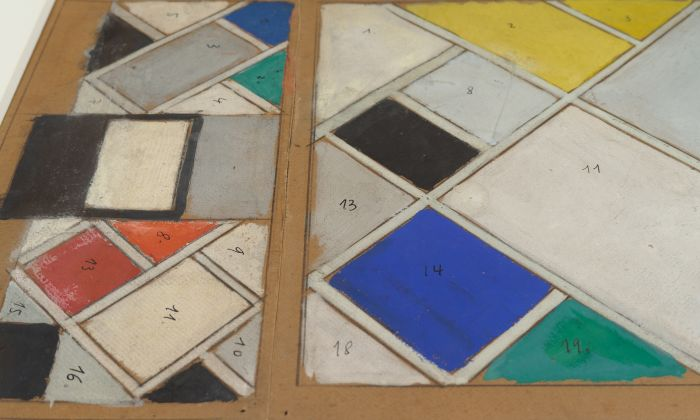 Theo van Doesburg. Interior model. Colour design for ceiling and three walls, cinema and dance hall of Café de l'Aubette, 1926/1927. Pencil and gouache on cardboard. 43 x 74.5 cm. Collection Het Nieuwe Instituut, DOES m1. Photo: Johannes Schwartz.