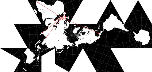 R. Buckminster Fuller: Dymaxion projection, 1954, adapted by Marco Moretto.