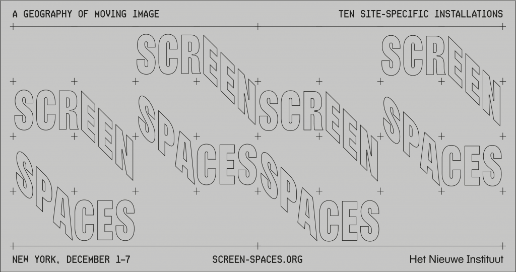 Screen Spaces, a geography of moving image. Graphic design: Koos Breen, 2018.